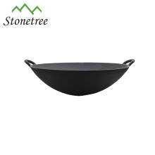Wholesale Japanese Industrial Black Painting Cast Iron Wok Dish